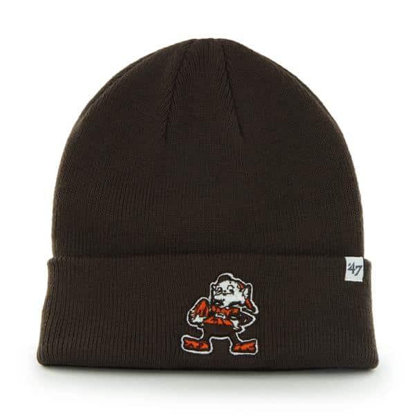 Cleveland Browns Raised Cuff Knit Brown 47 Brand KID Hat