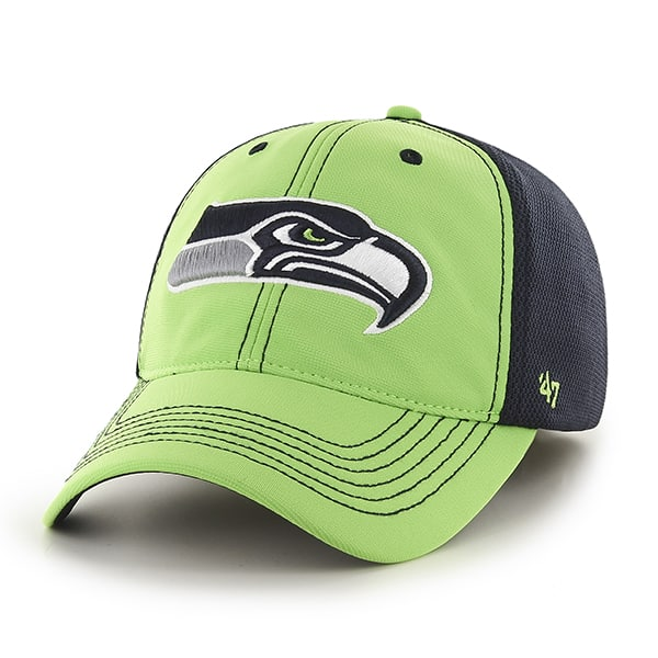 Seattle Seahawks Reversal Team Color Closer Lime 47 Brand Stretch Fit Hat