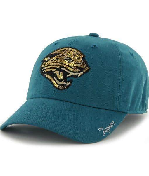 Jacksonville Jaguars Sparkle Team Color Clean Up Dark Teal 47 Brand Womens Hat