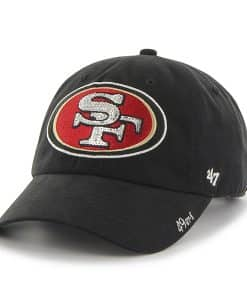 San Francisco 49ers Sparkle Team Color Clean Up Black 47 Brand Womens Hat