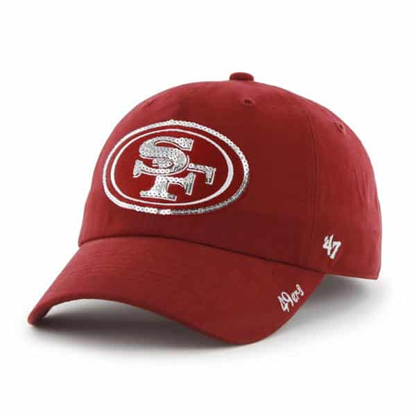 San Francisco 49ers Sparkle Team Color Clean Up Red 47 Brand Womens Hat
