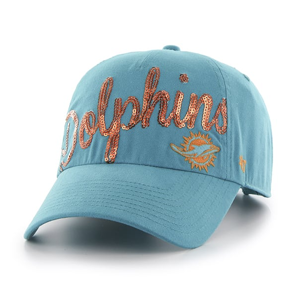 Miami Dolphins Sparkle Script Clean Up Neptune 47 Brand Womens Hat