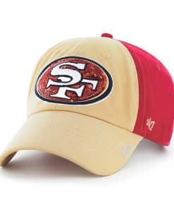 San Francisco 49ers Sparkle Two Tone Clean Up Red 47 Brand Womens Hat