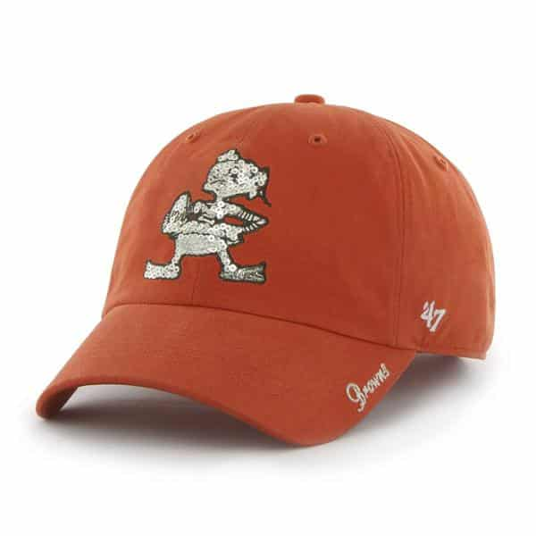 Cleveland Browns Women's 47 Brand Classic Sparkle Orange Clean Up Hat