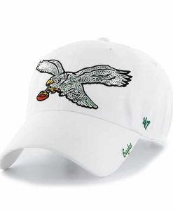 Philadelphia Eagles Sparkle Team Color Clean Up White 47 Brand Womens Hat
