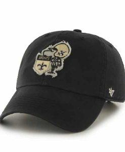 New Orleans Saints Ward Black 47 Brand Adjustable Hat