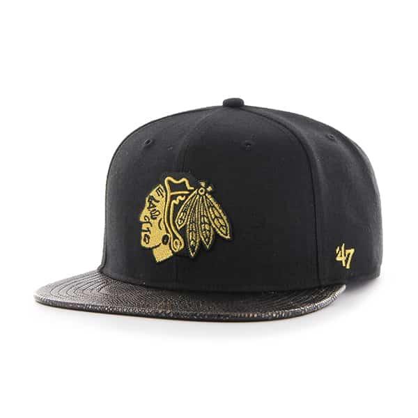 Chicago Blackhawks Constrictor Metallic Captain Black 47 Brand Adjustable Hat