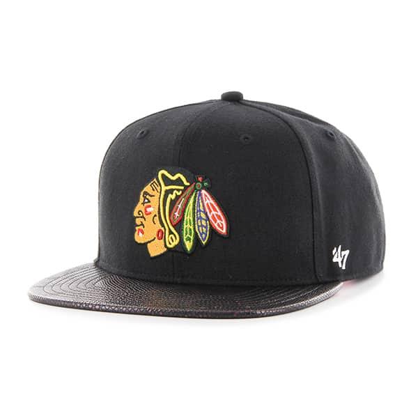 Chicago Blackhawks Constrictor Captain Black 47 Brand Adjustable Hat