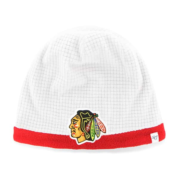 Chicago Blackhawks Grid Fleece Beanie White 47 Brand YOUTH Hat