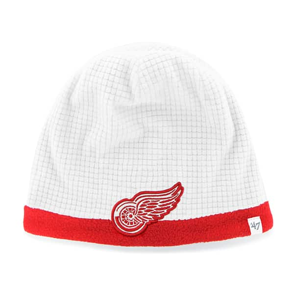 Detroit Red Wings Grid Fleece Beanie White 47 Brand YOUTH Hat