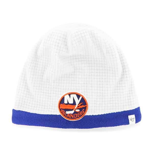 New York Islanders Grid Fleece Beanie White 47 Brand YOUTH Hat