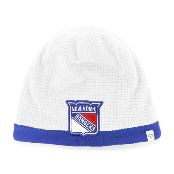 New York Rangers Grid Fleece Beanie White 47 Brand YOUTH Hat