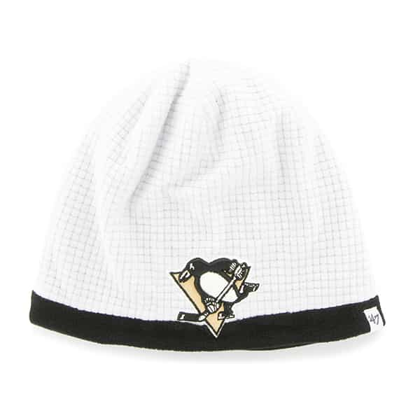 Pittsburgh Penguins Grid Fleece Beanie White 47 Brand YOUTH Hat