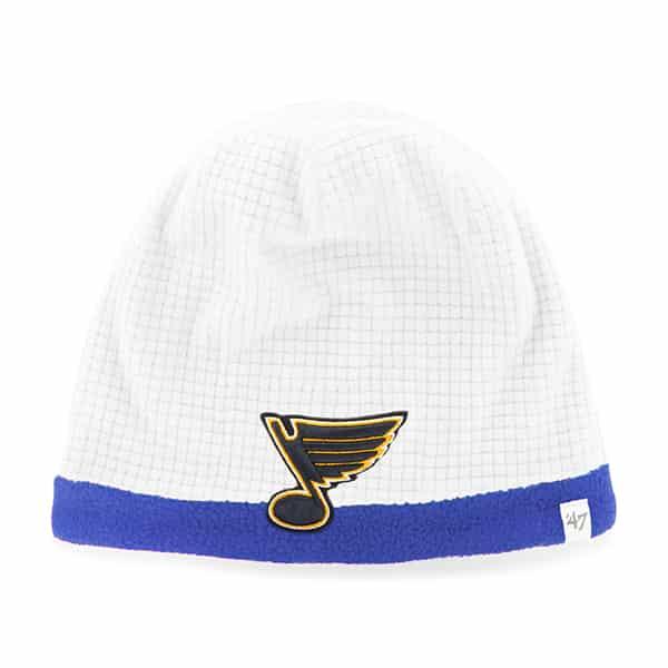 St Louis Blues Grid Fleece Beanie White 47 Brand YOUTH Hat