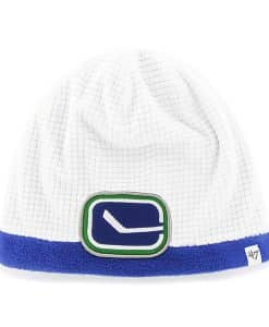 Vancouver Canucks Grid Fleece Beanie White 47 Brand YOUTH Hat
