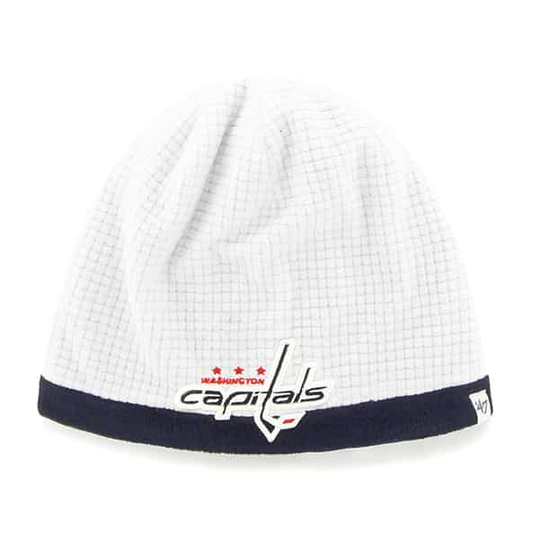 Washington Capitals Grid Fleece Beanie White 47 Brand YOUTH Hat