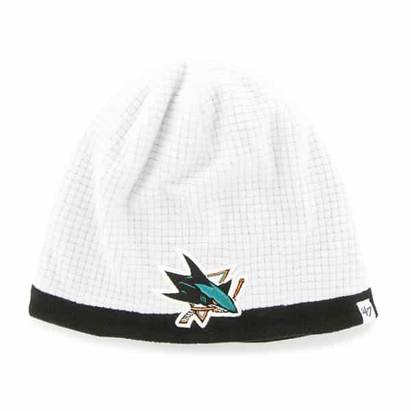 San Jose Sharks Grid Fleece Beanie White 47 Brand YOUTH Hat
