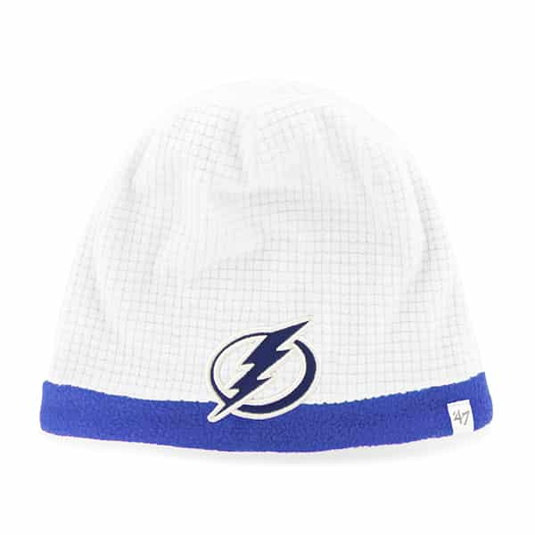 Tampa Bay Lightning Grid Fleece Beanie White 47 Brand YOUTH Hat
