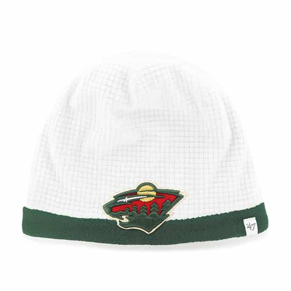 Minnesota Wild Grid Fleece Beanie White 47 Brand YOUTH Hat