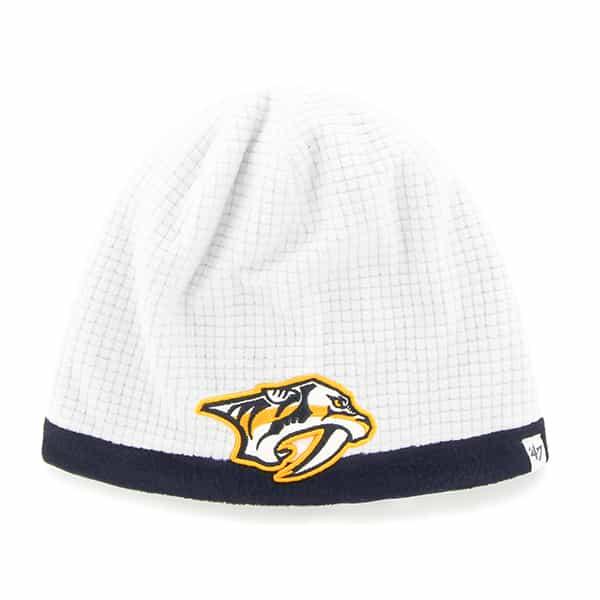 Nashville Predators Grid Fleece Beanie White 47 Brand YOUTH Hat