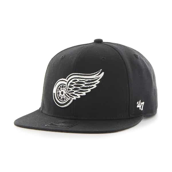 Detroit Red Wings Sure Shot Black 47 Brand Adjustable Hat