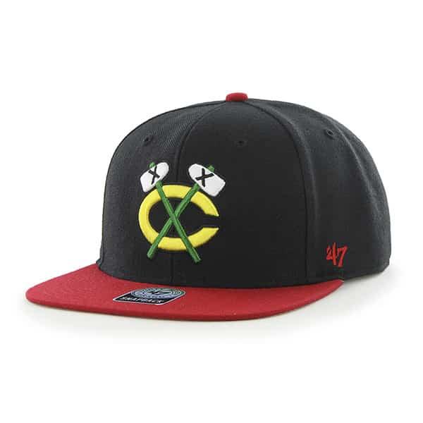 Chicago Blackhawks Sure Shot Two Tone Captain Black 47 Brand Adjustable Hat