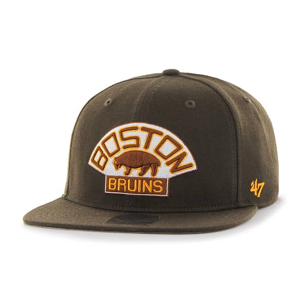 Boston Bruins Sure Shot Brown 47 Brand Adjustable Hat