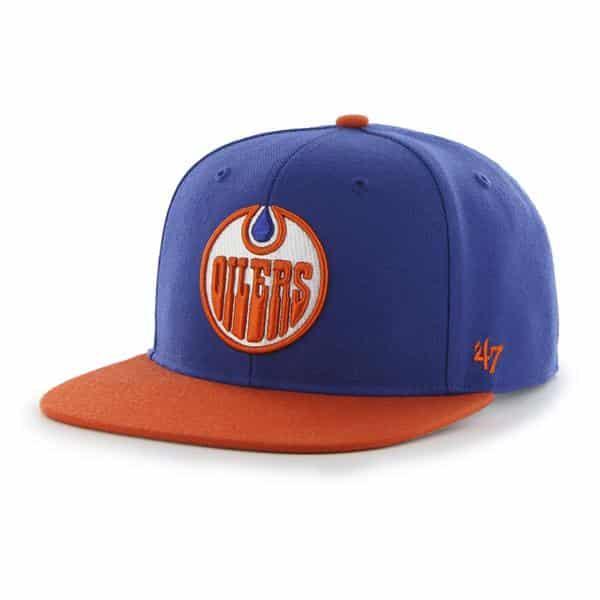 Edmonton Oilers Sure Shot Two Tone Captain Royal 47 Brand Adjustable Hat