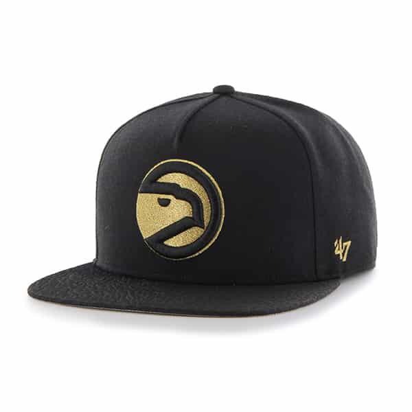 Atlanta Hawks Metallic Elephant Captain Black 47 Brand Adjustable Hat