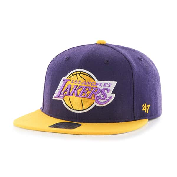 Los Angeles Lakers No Shot Two Tone Captain Purple 47 Brand YOUTH Hat