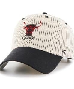Chicago Bulls Pinstripe Home Run Two Tone Clean Up Black 47 Brand Adjustable Hat