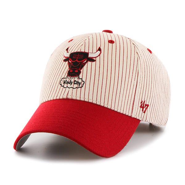 Chicago Bulls Pinstripe Home Run Two Tone MVP Red 47 Brand Adjustable Hat