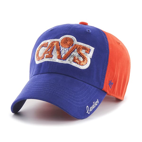 Cleveland Cavaliers Sparkle Two Tone Clean Up Orange 47 Brand Womens Hat