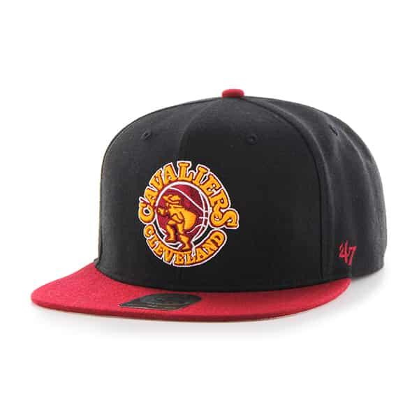Cleveland Cavaliers Sure Shot Two Tone Captain Black 47 Brand Adjustable Hat