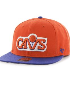 Cleveland Cavaliers Sure Shot Two Tone Captain Orange 47 Brand Adjustable Hat