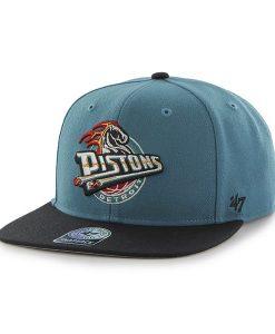 Detroit Pistons Sure Shot Two Tone Captain Dark Teal 47 Brand Adjustable Hat