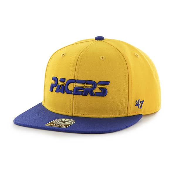 Indiana Pacers Sure Shot Two Tone Captain Yellow Gold 47 Brand Adjustable Hat