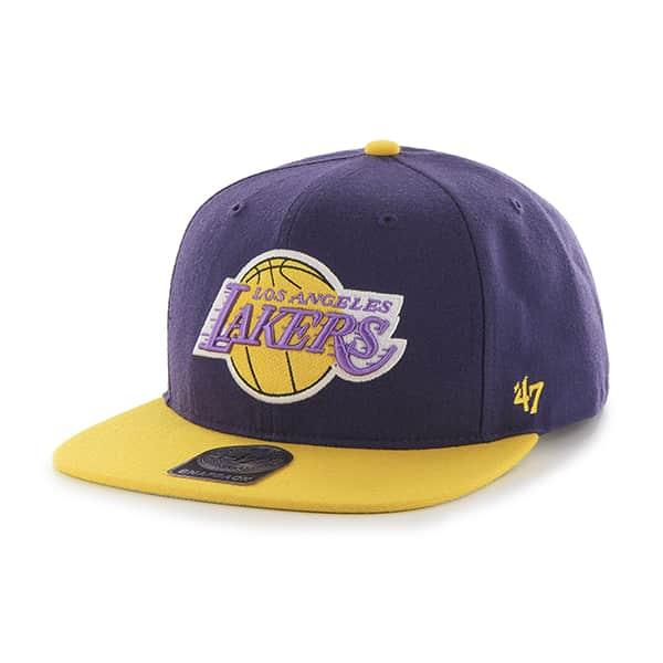 5ce7880e395 Los Angeles Lakers Sure Shot Two Tone Captain Purple 47 Brand Adjustable Hat  - Detroit Game Gear