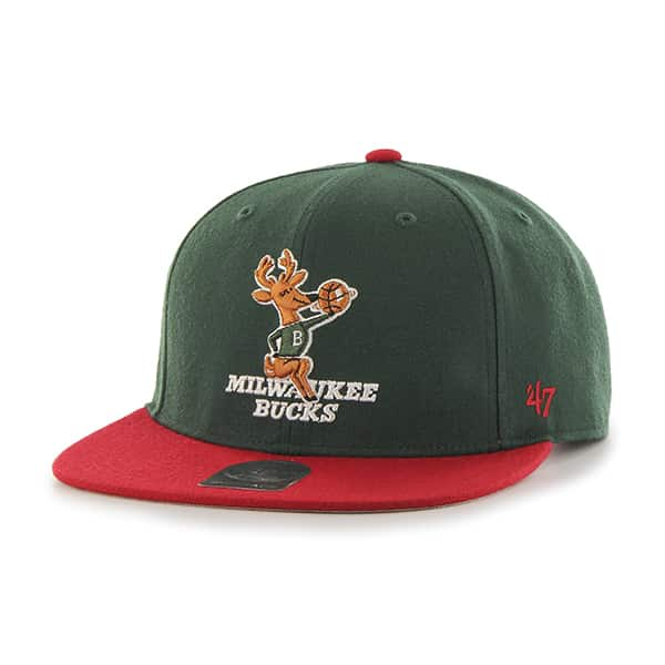 Milwaukee Bucks Sure Shot Two Tone Captain Dark Green 47 Brand Adjustable Hat