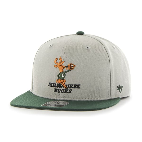 Milwaukee Bucks Sure Shot Two Tone Captain Gray 47 Brand Adjustable Hat