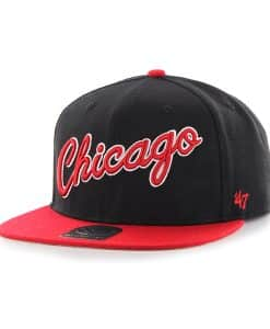 Chicago Bulls Script Side Two Tone Captain Black 47 Brand Adjustable Hat