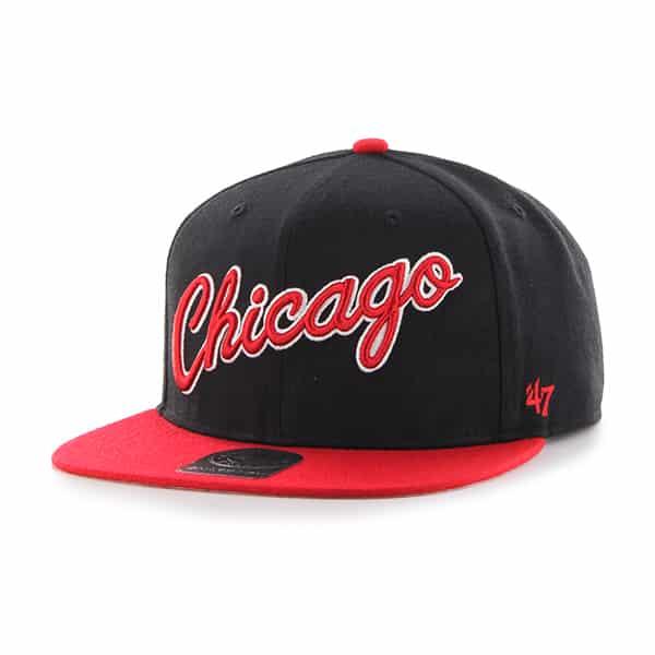 Chicago Bulls Script Side Two Tone Captain Black 47 Brand Adjustable Hat