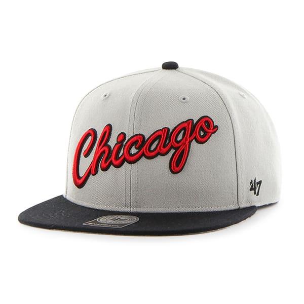 Chicago Bulls Script Side Two Tone Captain Gray 47 Brand Adjustable Hat
