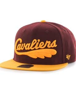 Cleveland Cavaliers Script Side Two Tone Captain Dark Maroon 47 Brand Adjustable Hat