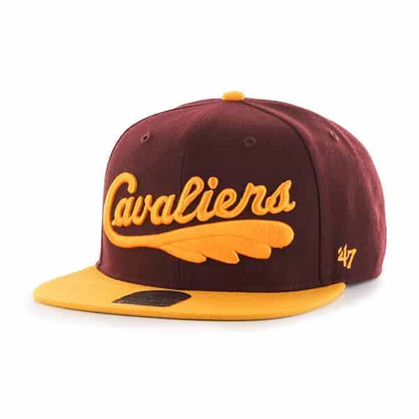 Cleveland Cavaliers Script Side Two Tone Captain Dark Maroon 47 Brand Adjustable Hat