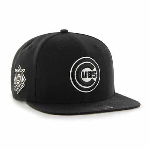 Chicago Cubs 47 Brand Black Sure Shot Snapback Hat