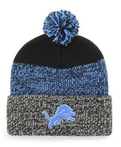 Detroit Lions 47 Brand Black Static Cuff Knit Hat