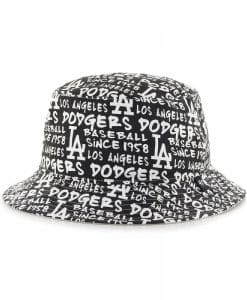 Los Angeles Dodgers 47 Brand Script Black White Bucket Hat