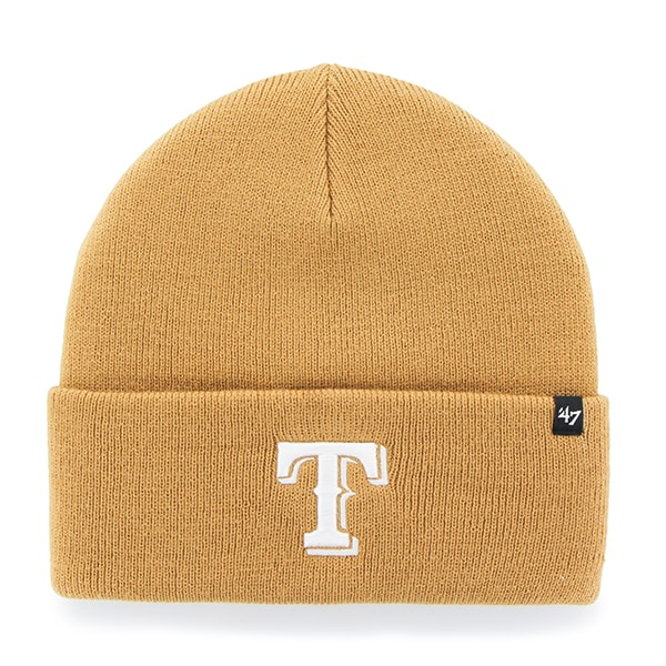 Texas Rangers Haymaker Cuff Knit Wheat 47 Brand Hat
