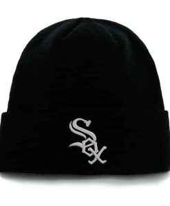 Chicago White Sox Raised Cuff Knit Black 47 Brand Hat